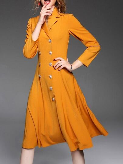 Orange Lapel A-Line Dress Coat