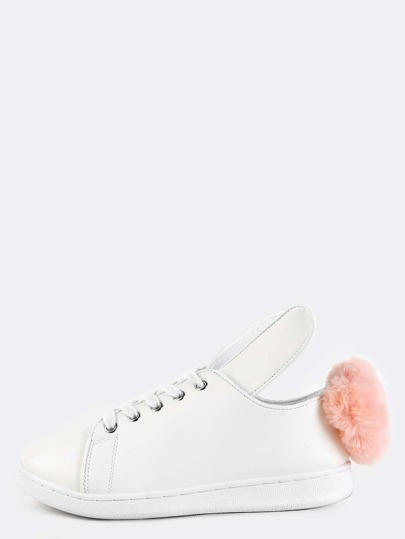 Pom Pom Bunny Ears Sneakers WHITE