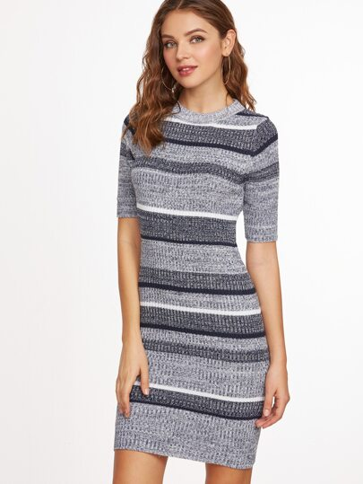 Grey Striped Short Sleeve Sheath Sweater Dress