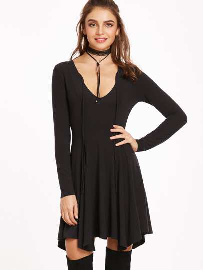 Tie Front Plunge Asymmetric Swing Dress