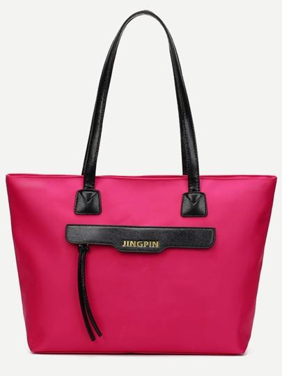 Nylon Einkaufstasche mit Reißverschluss-rosa