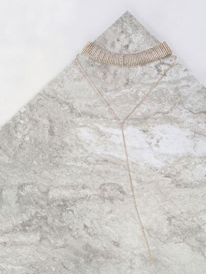 Rhinestone Lariat Choker Necklace GOLD