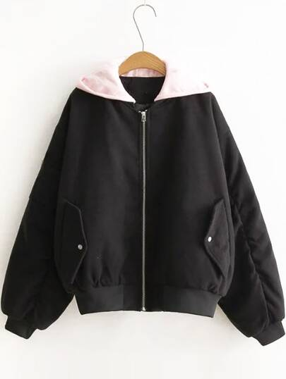 Black Letter Embroidery Contrast Hooded Zipper Coat