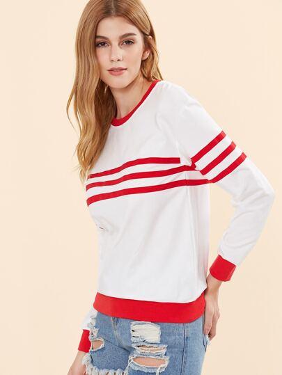 White Striped Drop Shoulder Ringer Sweatshirt