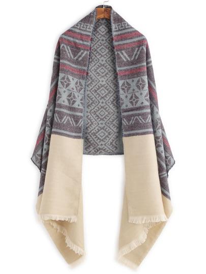 Сине-бежевый шарф шалью с этническим принтом