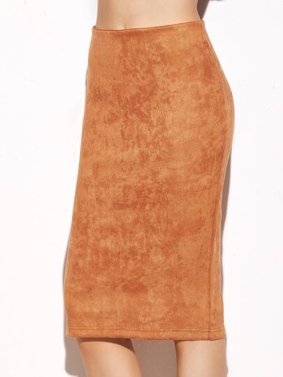 Camel Suede Slit Back Pencil Skirt