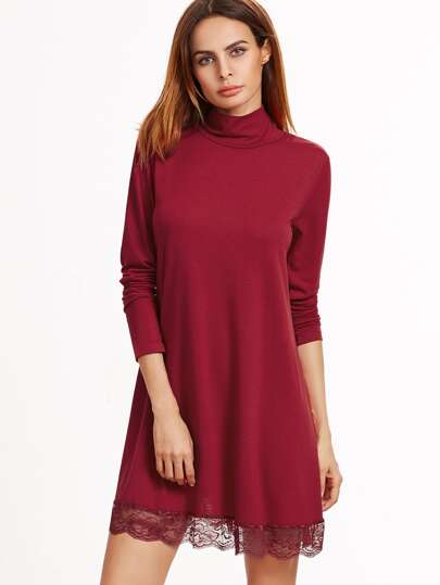 Burgundy High Neck Lace Hem Shift Dress