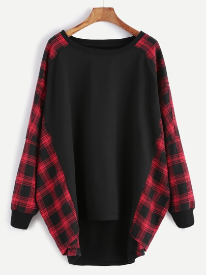 Black And Red Plaid Trim Oversized Sweatshirt