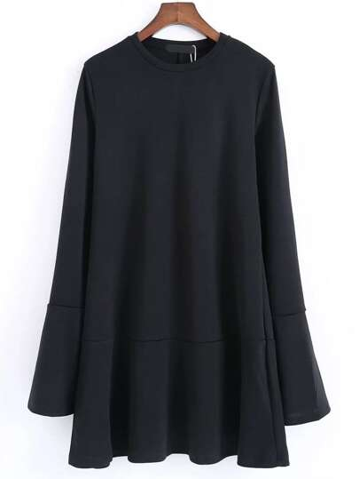 Black Split Bell Sleeve Drop Waist Dress