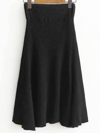 Black Elastic Waist Knit Midi Skirt