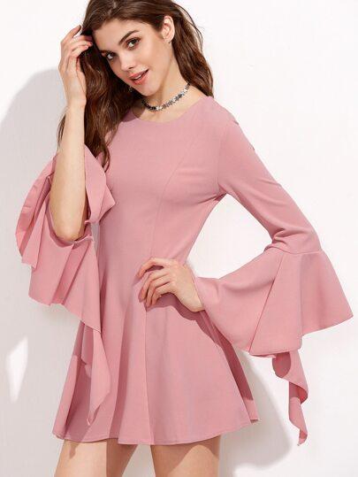 Pink Bell Sleeve Zipper Back A-Line Dress