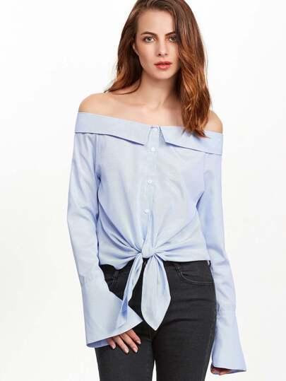 Синяя полосатая блуза с открытыми плечами