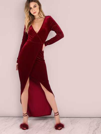 Long Sleeve Asymmetrical Velvet Maxi Dress WINE