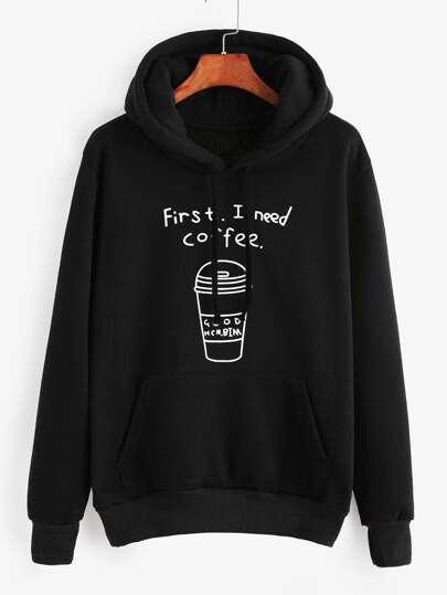 Black Printed Hooded Sweatshirt With Pocket