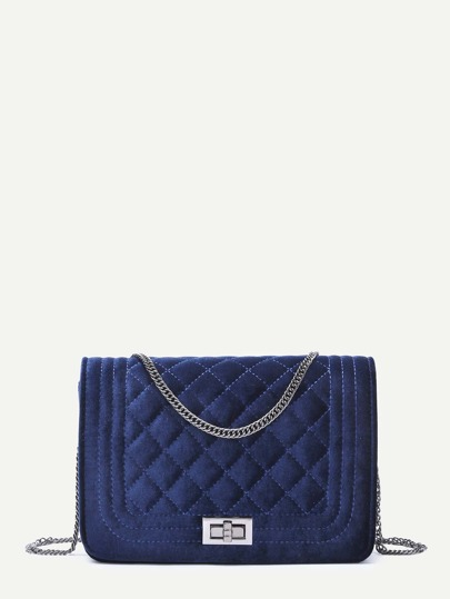 Navy Velvet Quilted Mini Flap Chain Bag