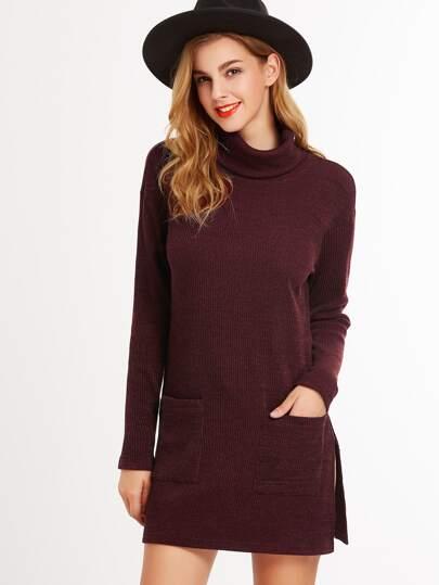 Burgundy Turtleneck Side Slit Longline T-shirt With Pocket