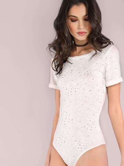 Distressed Cuffed Short Sleeve Bodysuit IVORY