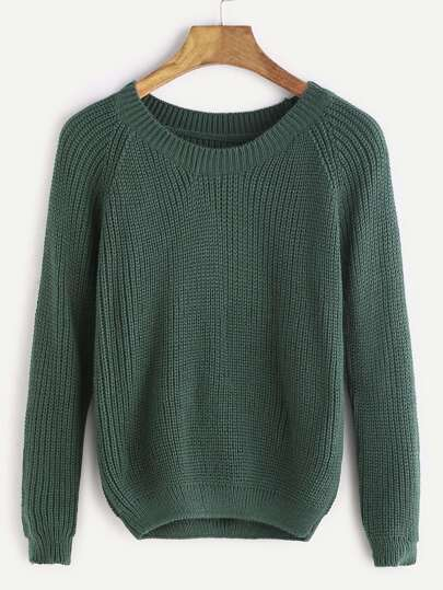Dark Green Raglan Sleeve Crop Sweater