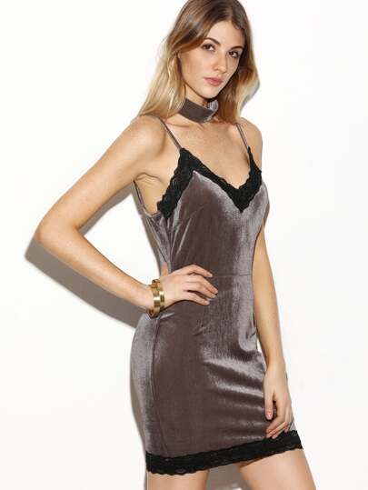 Coffee Lace Trim Velvet Cami Bodycon Dress With Choker