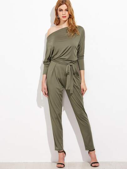 Asymmetric Bardot Belted Tapered Jumpsuit