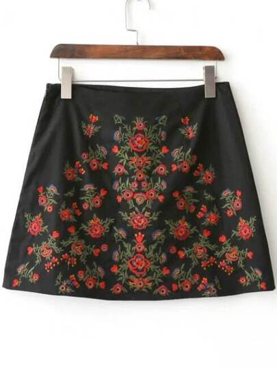 Black Floral Embroidery Side Zipper Skirt