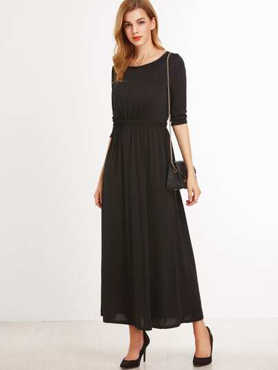 Black Elastic Waist A-Line Dress