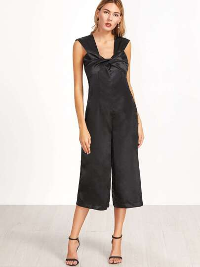 Black Twist Bow Front Wide Leg Jumpsuit