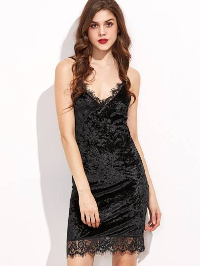 Black Lace Trim Velvet Cami Bodycon Dress