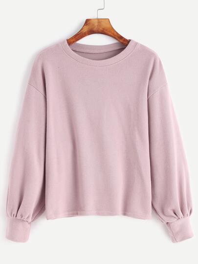 Pink Drop Shoulder Lantern Sleeve Jersey Sweater