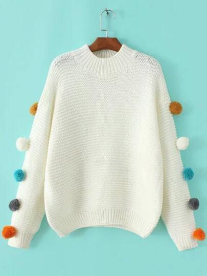 White Crew Neck Pom Pom Sweater