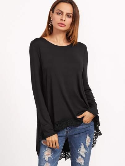 Camiseta asimétrica con encaje - negro