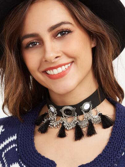 Black Gemstone Tassel Trim Choker Necklace