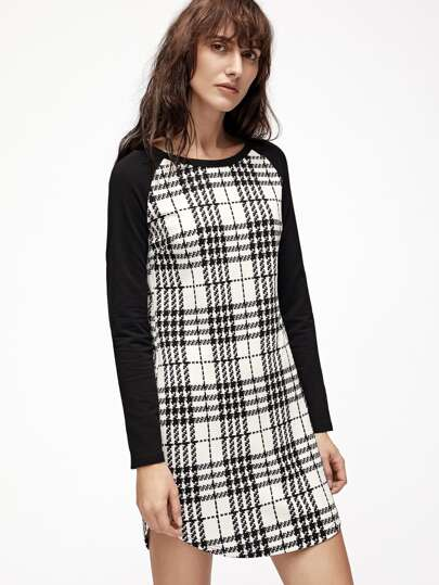 White Plaid Contrast Raglan Sleeve Curved Hem Dress
