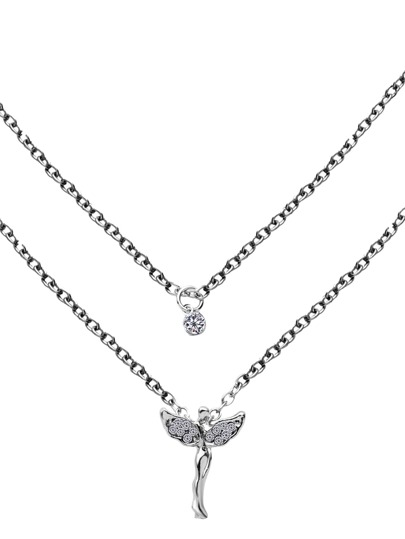 Silver Double Layer Rhinestone Angel Pendant Necklace