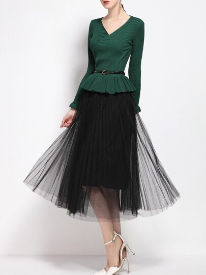 Green V Neck Knit Belted Top With Gauze Skirt