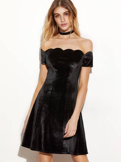 Black Scallop Trim Off The Shoulder Velvet Dress