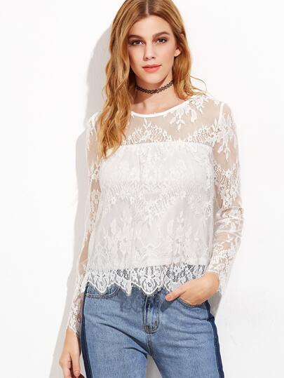 White Buttoned Keyhole Back Floral Lace Top