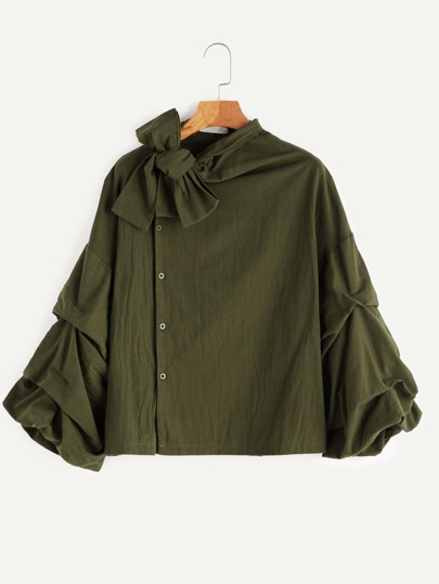 Army Green Bow Tie Neck Lantern Sleeve Blouse