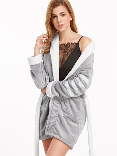 Grey Shawl Collar Striped Sleeve Robe