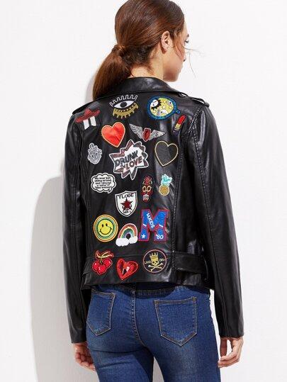 Чёрная модная куртка с вышивкой