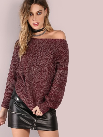 Slouchy Crop Knit Jumper BURGUNDY