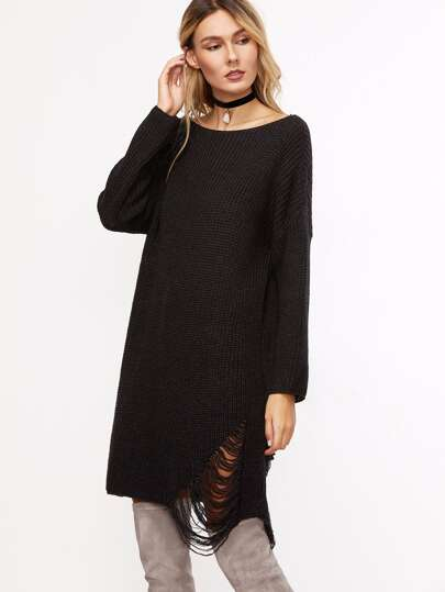 Black Boat Neck Ripped Longline Sweater