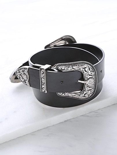 Black Double Vintage Carved Buckle Belt