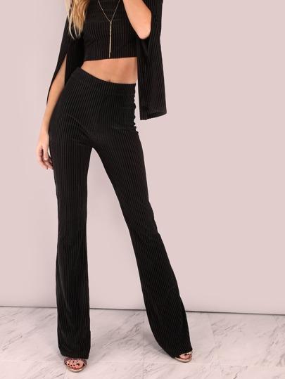 Velvet Mesh Stripe Skinny Flare Pants BLACK