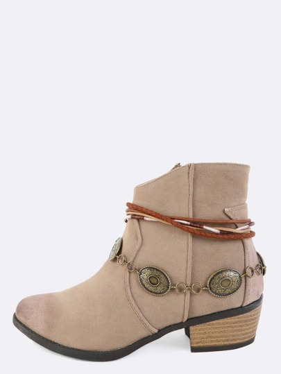 Coin Trim Low Cut Western Boots TAUPE