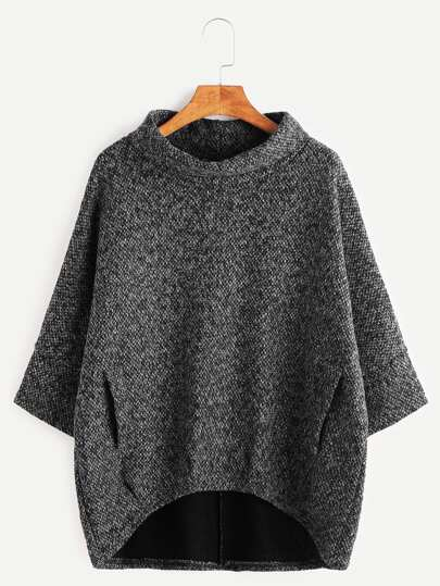 Dark Grey Turtleneck Dip Hem Pockets Sweatshirt