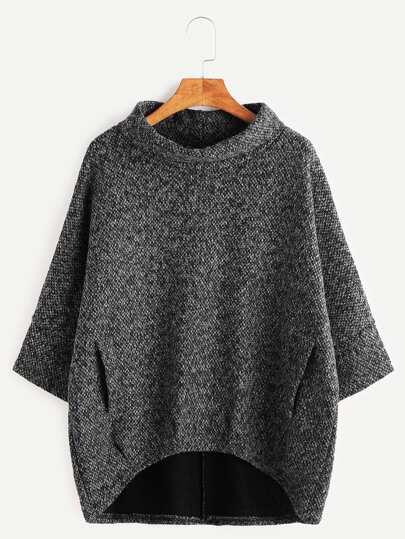 Sweat-shirt à col roulé ourlet descente avec poches -gris foncé
