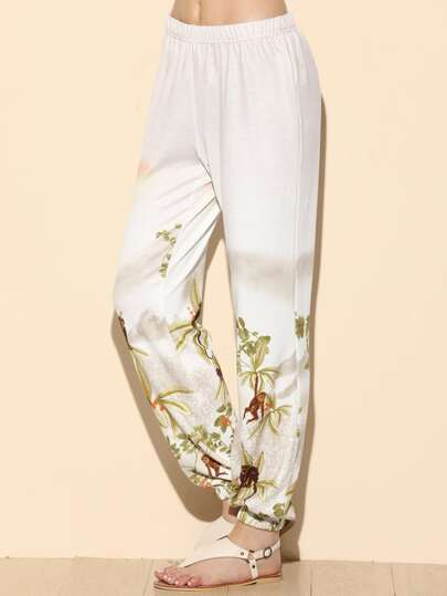 White Wild Print Elastic Waist And Hem Pants
