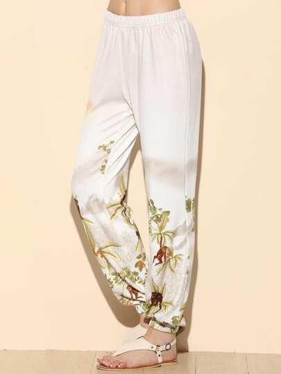 Pantalones con estampado y cintura elástica - blanco
