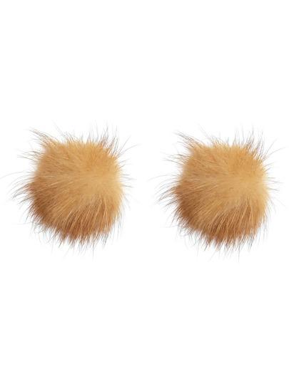 Camel Fluffy Pom Pom Stud Earrings